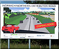 TG2909 : Sign advertising the Northern Distributor Road by Evelyn Simak