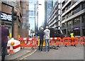 TQ3281 : Filming on Ropemaker Street by David Howard