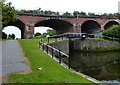 SJ3492 : Railway viaduct crossing the Leeds and Liverpool Canal by Mat Fascione
