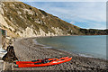 SY8279 : Kayaks at Lulworth Cove by Ian Capper