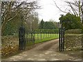 Dist:0.1km<br/>A fine set of early 19th century wrought iron gates, Listed Grade II. The listing includes the boundary wall which stretches some way along Village Street to the left.
