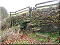 SE0327 : Steps and gated stile on Sowerby Bridge FP4 (W3) by Humphrey Bolton