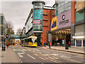 SJ8398 : Metrolink Second City Crossing, Tram passing the Arndale Centre by David Dixon