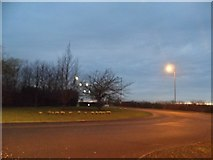 TL0831 : Roundabout on Bedford Road, Barton-le-Clay by David Howard