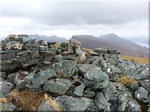 NG9376 : Broken trigs on Beinn Airigh Charr by Richard Law