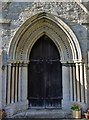 TL1175 : Leighton Bromswold, St. Mary's Church: Early Gothic doorway by Michael Garlick