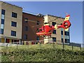 SJ8545 : Air ambulance landing at the Royal Stoke University Hospital by Jonathan Hutchins