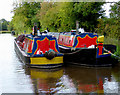 SJ5646 : Working boats above Marbury Lock in Cheshire by Roger  Kidd