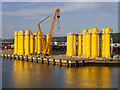 J3677 : Wind Turbine Bases, DONG Energy Terminal (D1 Quay) at Belfast by David Dixon