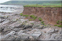 SX5148 : Rocky shoreline and red cliff by N Chadwick