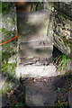 SE0339 : Stone steps of stile for footpath from Slaymaker Lane by Roger Templeman
