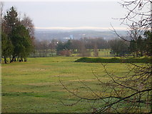 SD8613 : Rochdale Golf Course looking East towards the Pennine Hills beyond Rochdale town by Peter Messum