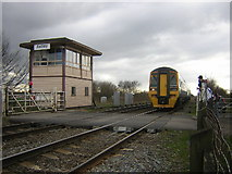 SJ7097 : Astley signal box and level crossing on Astley Moss by Tony Smith