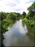 SU6770 : View West from bridge crossing River Kennet by Chris Collard
