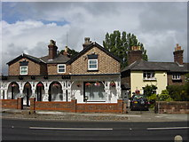 SJ4390 : Cottages Roby Rd corner of Station Rd by Sue Adair