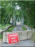 SO1141 : The suspension bridge over the Wye near Llanstephan by Andrew Longton