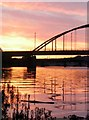 NZ1963 : Sunset behind Scotswood bridge by Stefan Carlton