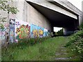 Dist:0.4km<br/>Graffiti galore as the old railway passes under the City of Edinburgh Bypass (A720) near Straiton, Midlothian.