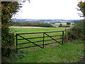 TL0939 : Farm gate and Greensand landscape above Clophill, Beds by Rodney Burton