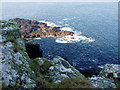 SW4238 : Rocks below Porthmeor Point by Sheila Russell