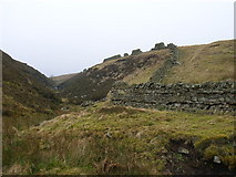 NY6645 : Broken wall, Woldgill Burn by Andrew Smith