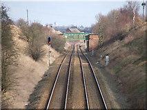 SE3819 : Railway near Sharlston Common. by Steve Partridge