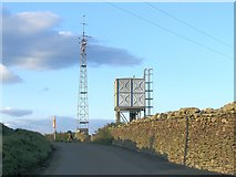 SN7003 : Mast and water tower in hills above Trebanos by Nigel Davies