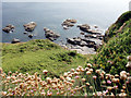 SW5627 : Rocks at Hoe Point by Sheila Russell