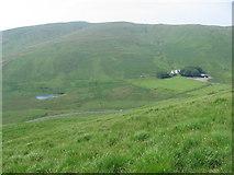 NS9108 : Troloss farm and A702 road by Chris Wimbush