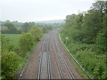 SS8681 : Railway near Nant Ffornwg by Chris Shaw