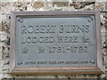 Photo of Robert Burns bronze plaque