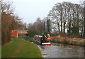 SJ5546 : Canal boat approaching Steer Bridge by Espresso Addict