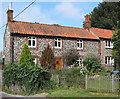 TF9743 : Norfolk flint row of cottages, Stiffkey by Pauline Eccles