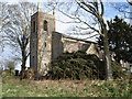 TG0805 : St Mary's Church Carleton Forehoe after the storm by richard