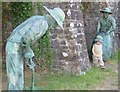 SO3106 : Statues of Lime Kiln workers, Goetre Wharf outdoor museum. by G Bradshaw