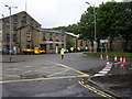 SE1422 : Road closed, Brighouse by Humphrey Bolton