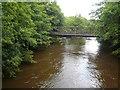 SK3156 : Footbridge crossing a flooded River Derwent by Alan Heardman