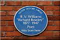 Photo of R. V. Williams blue plaque