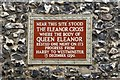 Photo of Eleanor Cross and Eleanor of Castile brown plaque