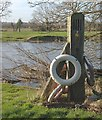 SK3228 : Chain ferry post at Twyford by Jerry Evans