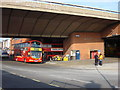 This bus garage is situated under an elevated section of the Westway road