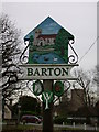 TL4055 : Barton Village Sign, west side by Keith Edkins