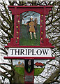 TL4346 : Thriplow Village Sign, detail by Keith Edkins