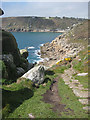 SW4523 : South West Coast Path approaching Lamorna Cove by Pauline E
