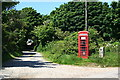 SW7345 : Track to Leigham Farm - with Telephone Box by Tony Atkin