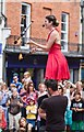 SU4829 : Lindsay Benner juggles with fire at the Hat Fair, Winchester : Week 26