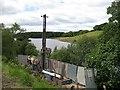 NS8467 : Survey work, Bathgate - Airdrie railway by Richard Webb