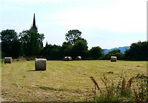 N7220 : Hay bales by the village church by James Allan