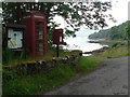 NM6061 : Glenborrodale: phone, postbox and notice board by Chris Downer