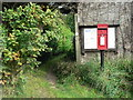 SY4293 : North Chideock: footpath by postbox by Chris Downer